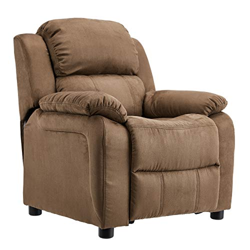 JC Home Kids Microfiber Deluxe Heavily Padded Recliner with Storage Arms, Brown