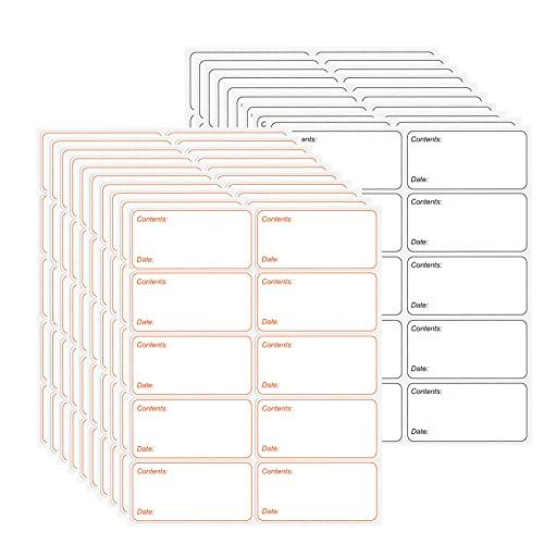 Etichette Adesive, 200 pezzi Bianche Etichette Facilmente Staccabili, Etichette per Congelatore,Barattoli Vetro,Marcatura,Foglio Bianco Formato,60x30mm