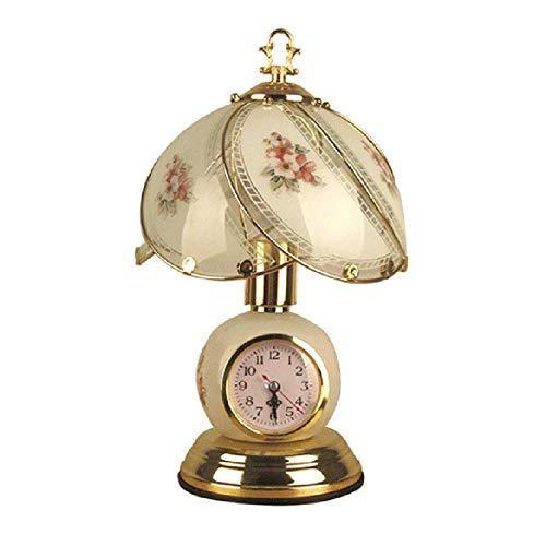 Lámparas exquisitas personalizadas Enchufe de la lámpara de mesa de noche antigua, Luz de escritorio de mini dormitorio regulable con interruptor táctil de reloj E27 para decoración de hogar accesorio