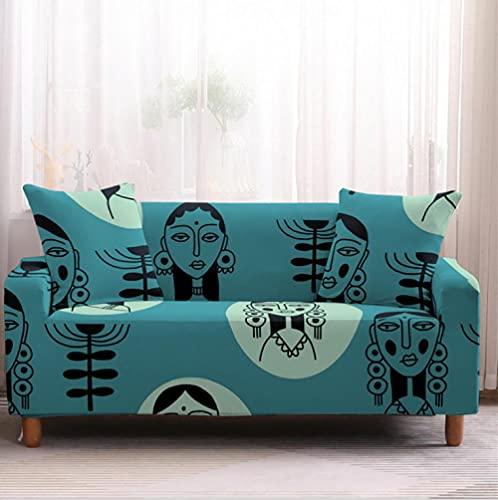 Fundas Sofa Elasticas 3 Plazas Diosa Egipcia Protector para Sofá de Poliéster Cubre Sofa Estampado Antideslizante Cubre Sofá Protector de Muebles, 2 Funda de Almohada
