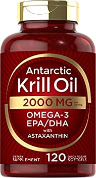 Antarctic Krill Oil 2000 mg 120 Softgels | Omega-3 EPA DHA with Astaxanthin Supplement Sourced from Red Krill | Maximum Strength | Laboratory Tested