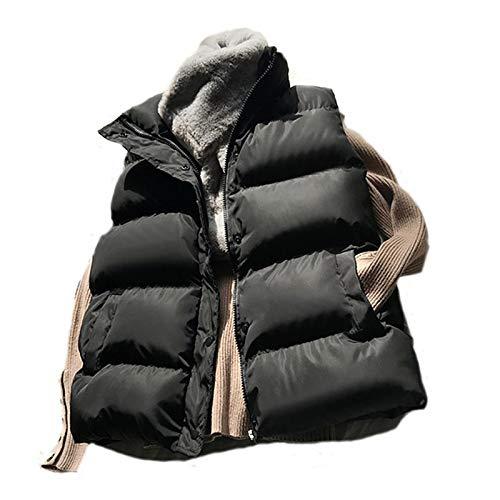 GUOYANGPAI Chaleco de plumón de algodón, Chaleco Holgado de Invierno 2020 Chaqueta Tipo Chaleco, Chaqueta Acolchada de algodón sin Mangas,Negro,M