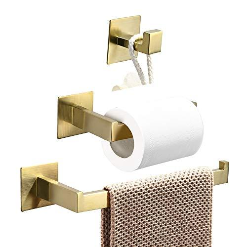 WOMAO Toilettenpapierhalter Gold Ohne Bohren Unterputz Werkstatt Handtuchhalter Landhausstil Selbstklebend Badezimmer Zubehör Set