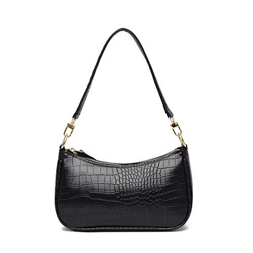 Women Shoulder Bags Retro Classic Clutch Shoulder Tote Handbag with Zipper Closure for Women (Black)