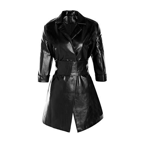 Vestido túnica de Piel sintética para Mujer, Chaqueta Casual de Solapa de Cintura Alta de Manga Larga con cinturón