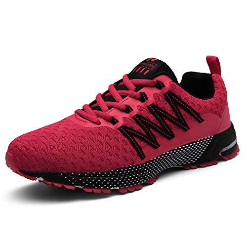 SOLLOMENSI  Laufschuhe Damen Herren Sportschuhe Straßenlaufschuhe Sneaker Joggingschuhe Turnschuhe, 43 EU, Rot3