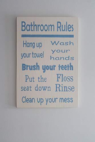 Ced454sy - Placa decorativa para pared de baño, diseño de reglas de baño, letrero de baño para niños, lávate las manos, flush floss, asiento hacia abajo