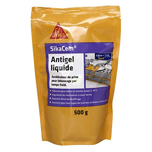 SikaCem Antigel Liquide, Accélérateur de prise par temps froid, 500ml, Jaune