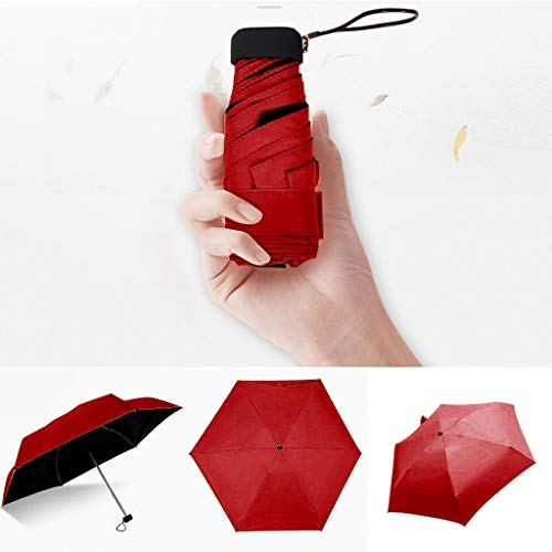 weichuang Paraguas para mujer, de lujo, ligero, con revestimiento negro, 5 pliegues, paraguas unisex de viaje, portátil, mini paraguas (color: rojo)