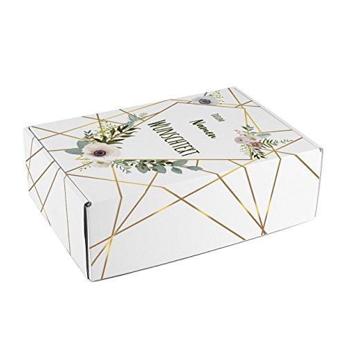 Herz & Heim® Moderne Geschenkbox zur Hochzeit mit Aufdruck der Namen, Datum und Wunschtext