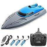 Goolsky Barco teledirigido 806 2.4G RC Barco con mando a distancia 20 km/h, juguete resistente al agua, alta velocidad, barco de carreras seguro con casco estable, regalo para niños y adultos