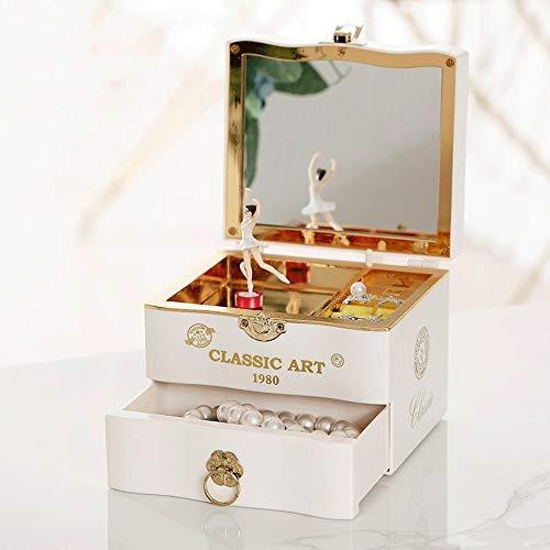 QINGHON Joyero musical clásica for la joyería bailarina de las muchachas Música Kids Case cajas de la baratija Caja de almacenaje del cajón for los regalos de niña de los niños - Melody for Elisa QINH