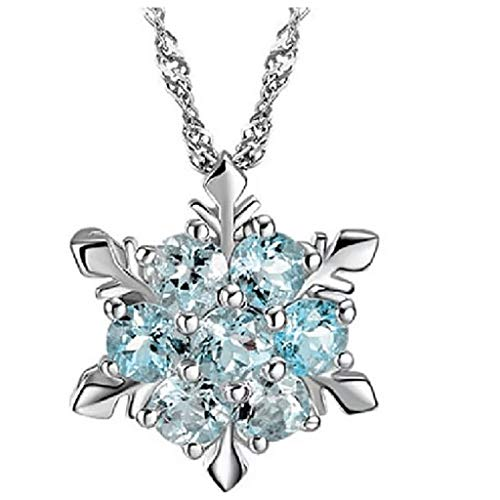 CMOM girls' pendant, women's chain, long strand charms necklaces with pendant, ladies necklace, creative hexagon snowflake crystal necklace pendant clavicle heart necklace for girlfriend gift sky blue