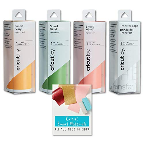 Cricut Joy Smart Permanent Vinyl Roll Bundle, Lime Green, Tangerine, Coral