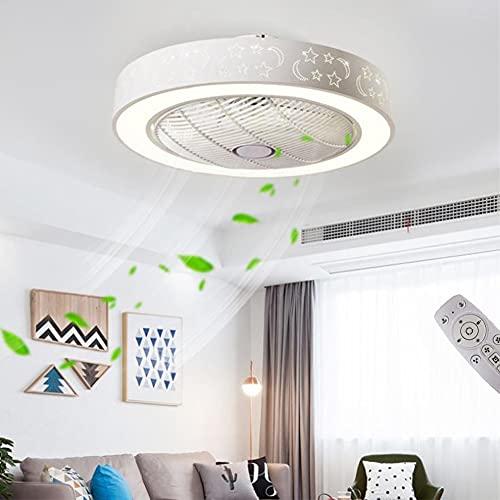 XKAI Ventiladores para el Techo con Lámpara LED, con Control Remoto Regulable 3000K~6000K, Ventilador Invisible Lámpara de Techo para Dormitorio Habitación Infantil, Ultra Silencioso, Ø50CM
