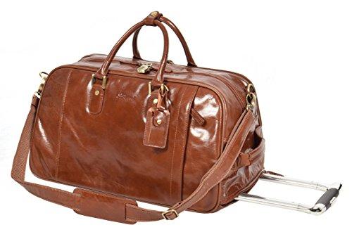 Réal Cuir Châtaigne Roues Holdall Duffle Gym Bagages De Cabine Voyage Weekend Bag Pete