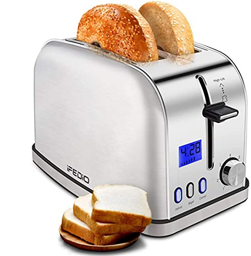 Toasters Best Rated Prime 2 Slice Toaster Stainless Steel with LCD Timer Display Wide Slots Bagel Defrost Cancel Function for Breakfast Removable Crumb Tray, 900W, Silver
