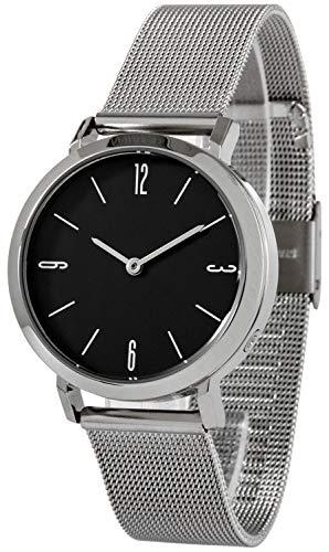Reloj de pulsera controlado para mujer, acero inoxidable, con correa de malla
