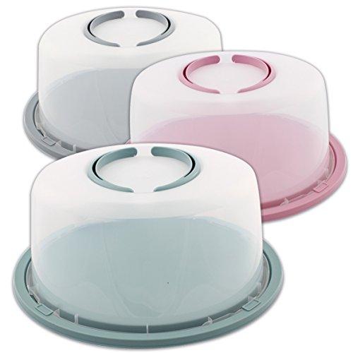 Tortenbehälter Kuchenplatte Tortenplatte Kuchenbox Torten Kuchen mit Haube und Griff (Grün)