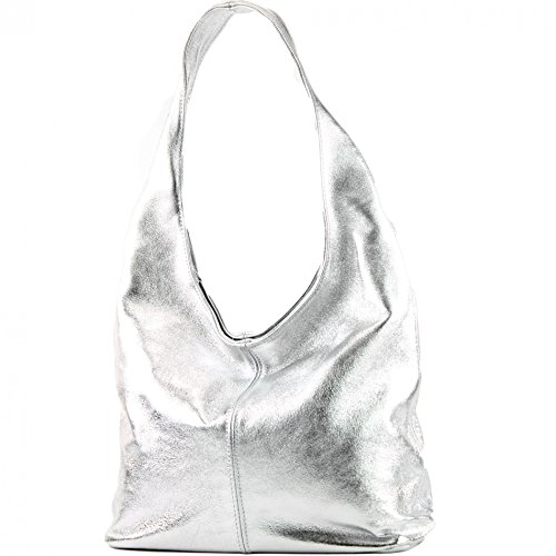 modamoda de - T150 - ital Schultertasche aus Leder Wildleder, Farbe:Silber-Metallic