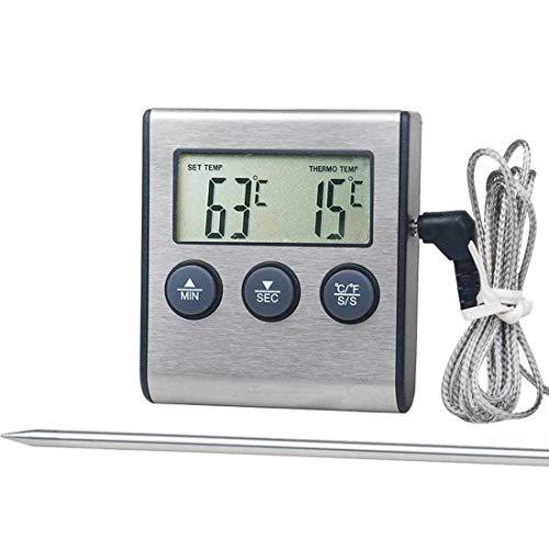 Thermomètre de Cuisine à la Cuisson à la Viande Alimentaire - pour Le Four à fumée, Temporure d'horloge BBQ, avec des Outils de Cuisine de sonde en Acier Inoxydable Lihaihua (Color : 70x65x20mm)