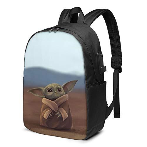 Multi-Functional Travel Backpack,17 Inch Man-dalor-ian Shoulder Daypack Rucksack with USB Charging Port & Earphone Hole
