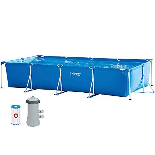 Intex 28274NP - Piscina tubular INTEX, Piscina rectangular, 450x220x84 cm, 7.127 litros, con depuradora cartucho, 2.006 litros/hora, Piscina Metal Frame, conexiones 32 mm