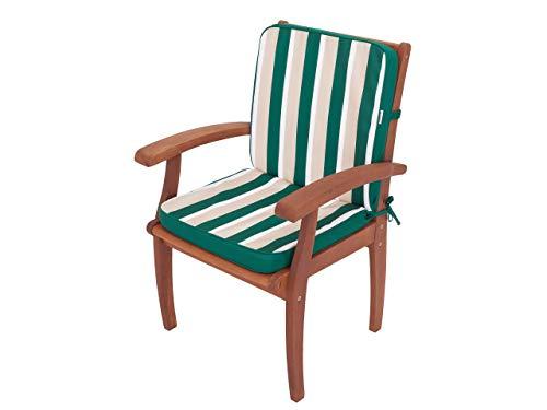 Cojín para sillón con respaldo bajo, cojín para sillón, tumbona de jardín, dimensiones del asiento: 49 x 47 cm, respaldo alto 52 cm, verde con rayas beige.