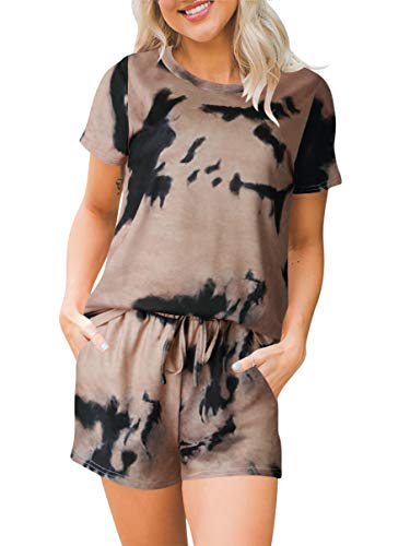 ANRABESS Women's Tie Dye Lounge Set Short Sleeve and Short Pajamas Set 2 Piece Outfits A335-gutonghuang-XL