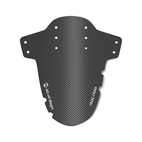 Riesel Design® Mudguard - Criss:Cross – Fahrrad Schutzblech vorn inkl. Kabelbinder & 2 Sticker/Fahrrad Spritzschutz für Cyclo Cross und Gravel Bike/Schutzblech vorne für Gabel - Carbon 21