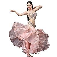 豪華なベリーダンス衣装セット - 3点セットビーズ刺繍プロ仕様ダンス服 高級演出服 ブラ スカート(ピンク,L)