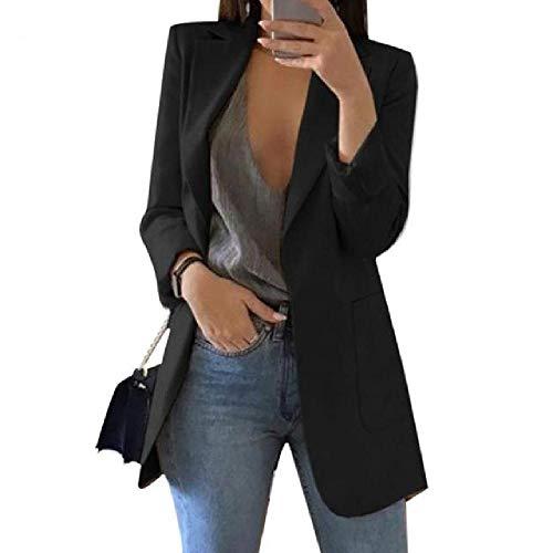 N\P Chaqueta de mujer Blazer fina con hombros de algodón Negro XL