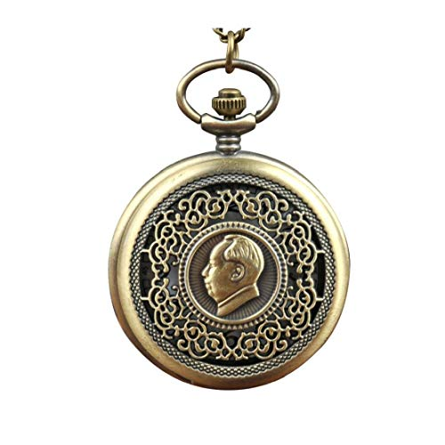 Women Pocket Analogue Quartz Pocket Watch Chairman Mao Pattern Necklace Pendant Pocket Watch Bronze Vintage Chain Necklace Pocket Watch L Ideal Choice