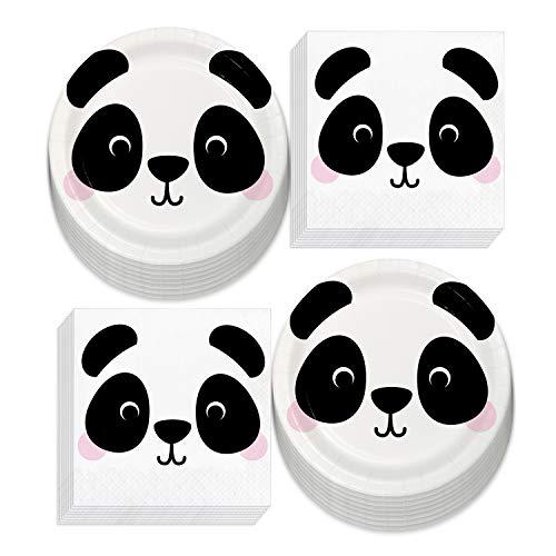 Panda Animal Face Paper Dessert Plates and Napkins