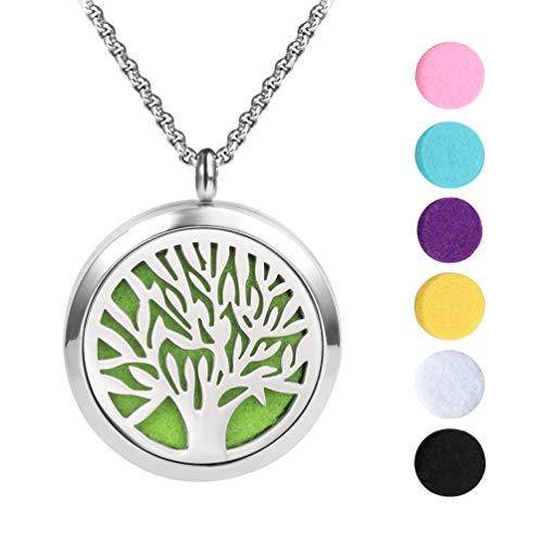 Meilanty Aromatherapie Kette Lebensbaum Anhänger, Damen Halskette 60cm Tree of Life Diffusor Aromatherapie mit 7 Pads WZ-E01