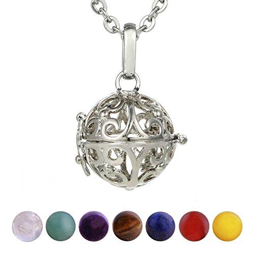 Morella Mujeres Collar 70 cm Acero Inoxidable con Colgante y 7 Piedras Preciosas Gema Bolas de Chakra en Bolsa Der joyería