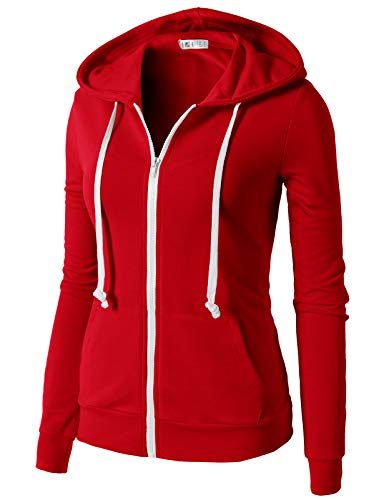 H2H Women's Active Regular Fit Zip Up Long Sleeve Daily Hoodie Jacket RED US M/Asia M (CWOHOL020)