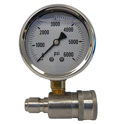 Ultimate Washer UW16-PW173B Pressure Gauge & Adaptor for Pressure Washers, Stainless Steel, 6000 PSI Rated