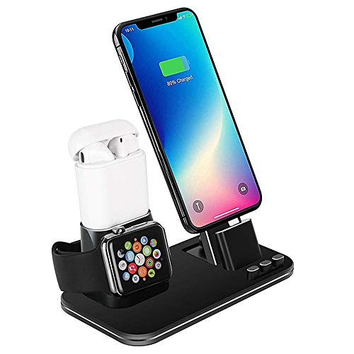 SJTS Charging Stand for Apple Phone Charging Dock for Airpods Charger Station for Apple Watch 4/3/2/1 3-IN-1 Aluminum Alloy Charging Bracket Charger Stand for iPhone X/XS/XS Max/XR/8/7/6/ 5/SE (Black)