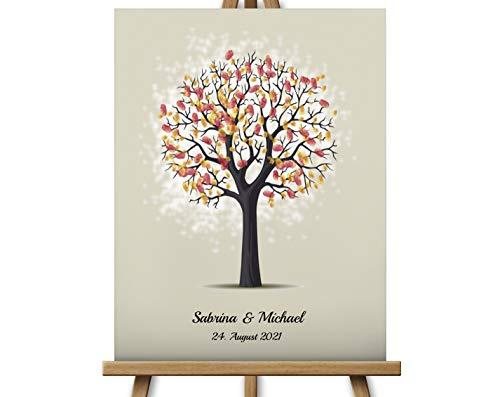 Fingerabdruckbaum zur Hochzeit, Leinwand Hochzeitsgeschenk Hochzeitsbaum Wedding Tree, Gästebuch 40x30 cm