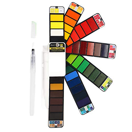 Mincho Watercolors Paint Set - 42 Assorted Colors, Professional Travel Mini Portable Pocket Watercolor Field Sketch Set with 1 Water Brushes, for Artist, Kids & Adults Outdoor Painting