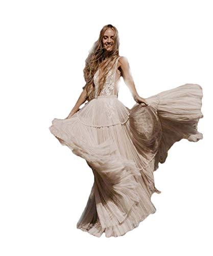 HYC Brautkleider Tiefer V-Ausschnitt Skurriles Boho Brautkleider Sexy Strand Brautkleid mit Nude Unterstrich - Wei� - 52