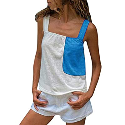 RAINED-Women Crop Tank Tops Color Patchwork Cami Tanks Sleeveless Strappy Tops Summer Sexy Clubwear Shirts