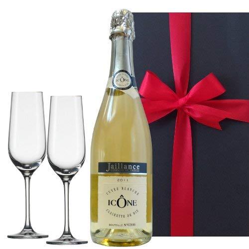 お祝い 結婚祝い 結婚記念日 誕生日【ワインとグラスのギフトセット】フランス産 スパークリングワイン「ジャイアンス キュヴェ・イコン」750ml/ペア シャンパングラス 箱入り【ギフト】贈答用 贈り物 プレゼント
