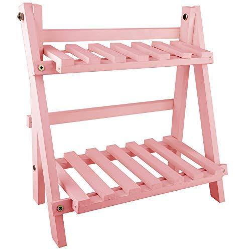 YHNHT Estante de madera de 2 niveles para plantas, soporte multifuncional en forma de escalera, estante para libros, estantes de almacenamiento para casa, patio, césped, jardín, balcón, soporte