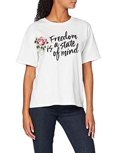 Marca Amazon - find. Camiseta con Mensaje con Cuello Redondo Mujer, Blanco (White), 40, Label: M