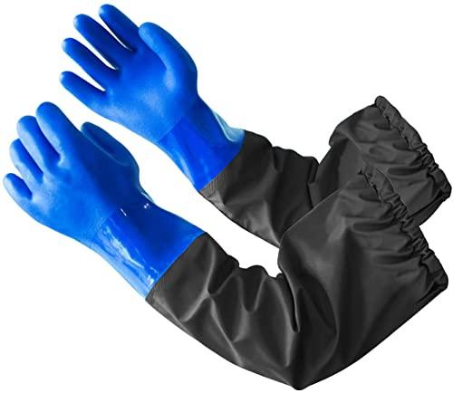 Sicherheit Arbeitshandschuhe, Eiito PVC langärmlige Handschuhe wasserdicht für Aquarium, Teichpflege Handschuhe 68cm
