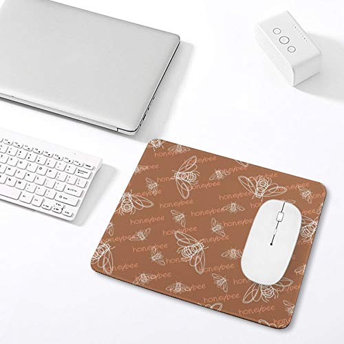 """10"""" x 12"""" Mouse Pad with Stitched Edge, Office Desk Pad, Brown Honeybee Pattern Leaf Design Beige Rug, Mouse pad, Mouse Pad for Laptop Mat, for Office/Work/Father' s Day"""
