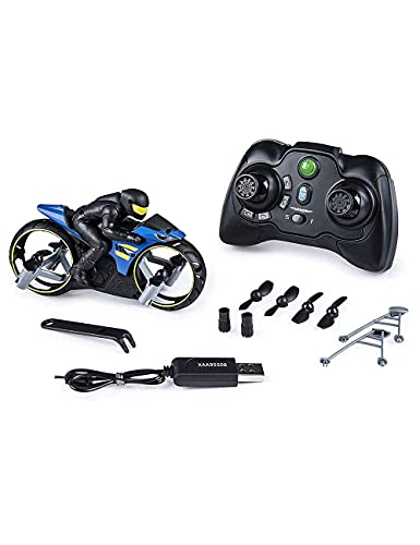 TOMZEE TOYS Blue Hippo Flying Bike Motorcycle Rc Remote Control Drone 2 in 1 Flying and Racing Bike Toy 2.4G Remote Control Motorcycle Toy for Best Gift Children Kids Boys Girls ( Multicolour )