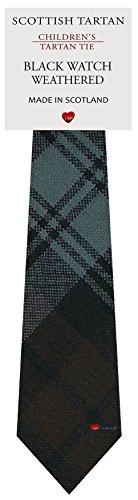 I Luv Ltd Garçon Tout Cravate en Laine Tissé et Fabriqué en Ecosse à Black Watch Weathered Tartan